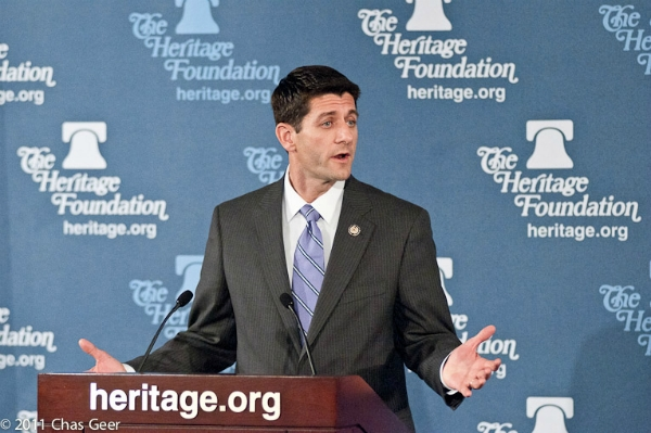 Rep. Paul Ryan (R-WI) explains his plan to get America back on track at Heritage Wednesday. Photo: Chas Geer