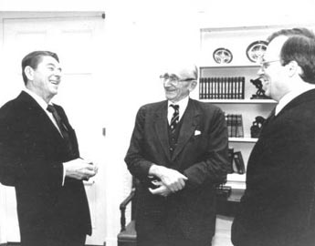 Ronald Reagan, Friedrich Hayek and Ed Feulner.
