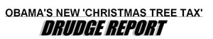 The Drudge Report headline promoting Heritage's Christmas Tree Tax story.