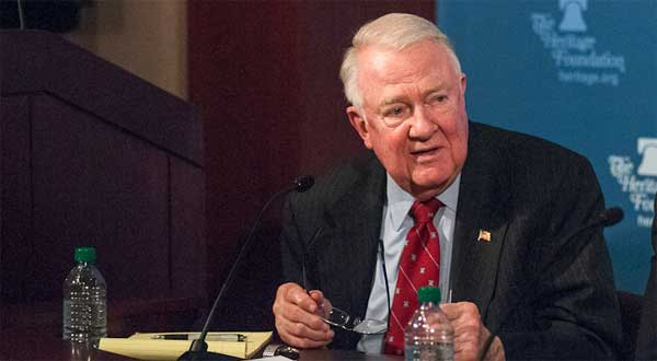 Ed Meese speaks at a Heritage conference on legal challenges to Obamacare. Photo: Chas Geer