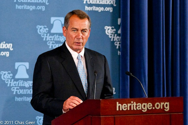Speaker John Boehner (R-OH) turns to Heritage for the facts on Taxmageddon. Photo: Chas Geer