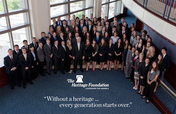The Heritage Foundation's summer 2012 interns pose with Heritage President Ed Feulner in a photo sent recently to Heritage members.