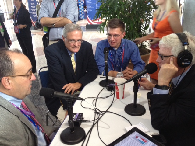 Heritage's Mike Gonzalez, Mike Franc and Rob Bluey conduct an interview with Hugh Hewitt yesterday at the Republican National Convention in Tampa.