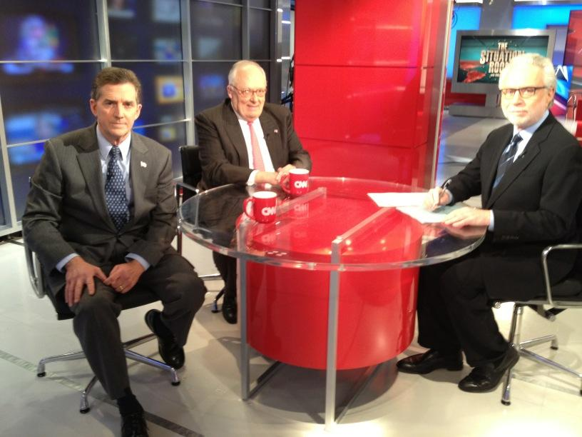 The Heritage Foundation's next president, Sen. Jim DeMint (R-SC), left, with current Heritage President Ed Feulner and CNN host Wolf Blitzer on Thursday.