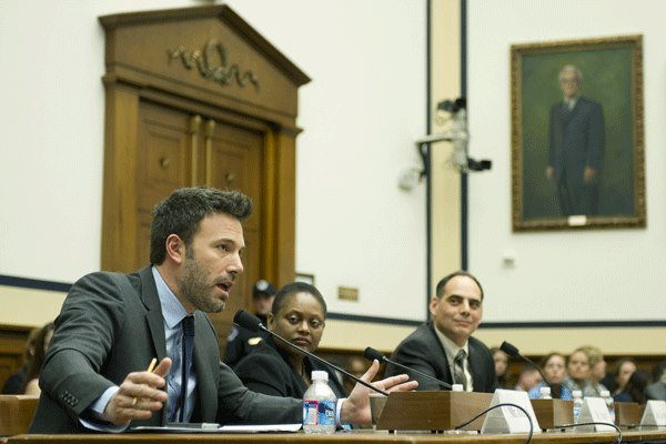 Heritage's James Carafano, right, testifies about the Democratic Republic of Congo alongside activist and actor Ben Affleck, left.