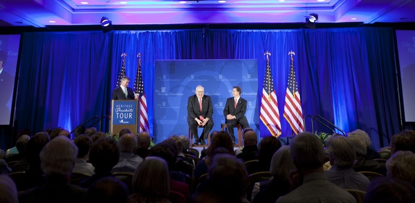 Heritage President Ed Feulner and President-Elect Jim DeMint share the stage Wednesday before an audience of hundreds in Denver. Photo: Shealah Craighead
