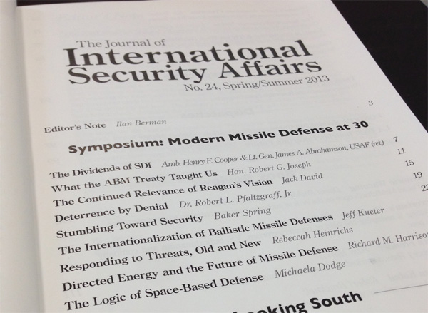 Table of contents of the spring/summer 2013 issue of the Journal of International Security Affairs