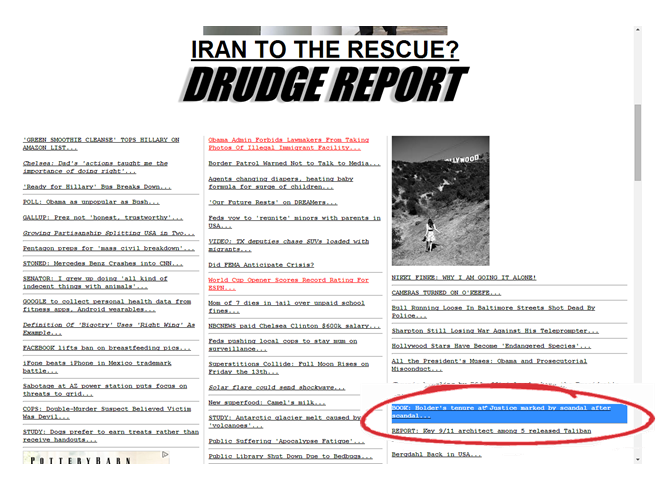 Screen shot of the Drudge Report.