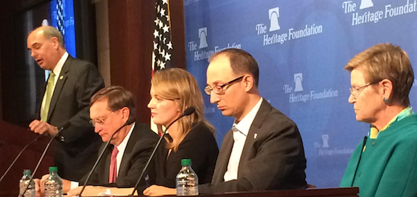 Heritage's Steven Bucci, Dr. Robert Kadlec, Heritage's Charlotte Florance, Tevi Troy, and Dr. Tara O'Toole discuss Ebola policy at The Heritage Foundation. Photo: Andrew Schaeffer