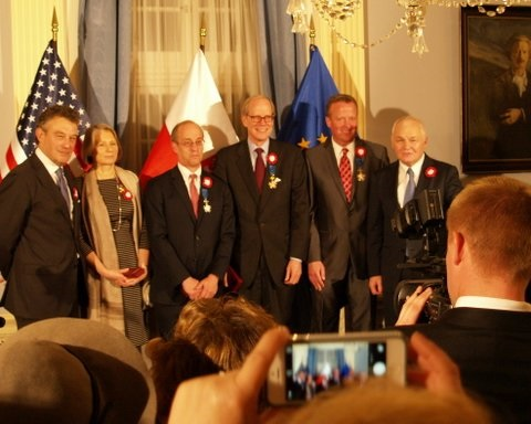 Heritage's James Dean, second from right, won an award from Poland for his work to advance freedom. Photo:  Matthew Stefanski, Embassy of Poland