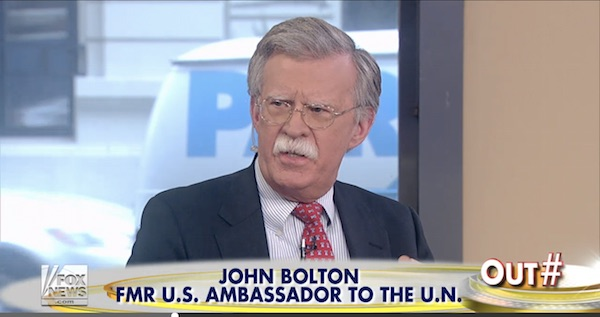 John Bolton wears a Heritage necktie on Fox News last Friday.
