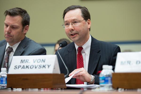 Heritage's Hans von Spakovsky testifies on the consequences for election integrity of granting amnesty to illegal immigrants on February 12, 2015.