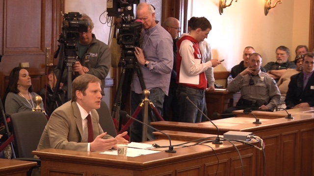 James Sherk testifies on Tuesday before the Wisconsin Senate about the benefits of right-to-work legislation.