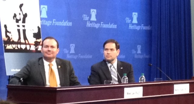 Sen. Mike Lee (R-UT) and Sen. Marco Rubio (R-FL) at The Heritage Foundation