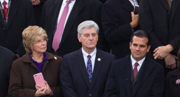 Mississippi Gov. Phil Bryant sports at Heritage tie at Donald Trump's inauguration last Friday.